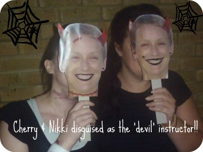 This is really Cherry and Nikki with their 'devil aerobics instructor' masks ...don't know who they look like!?